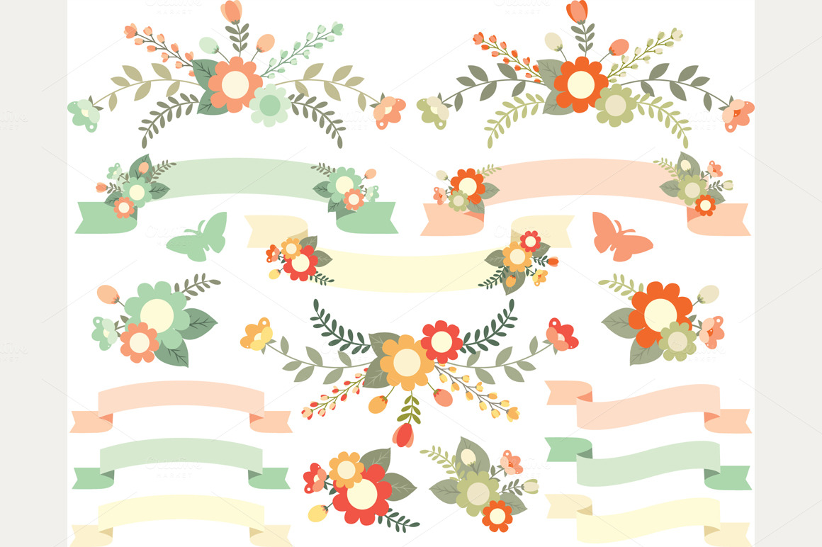Flowers And Ribbons  Peach Green    Illustrations On Creative Market