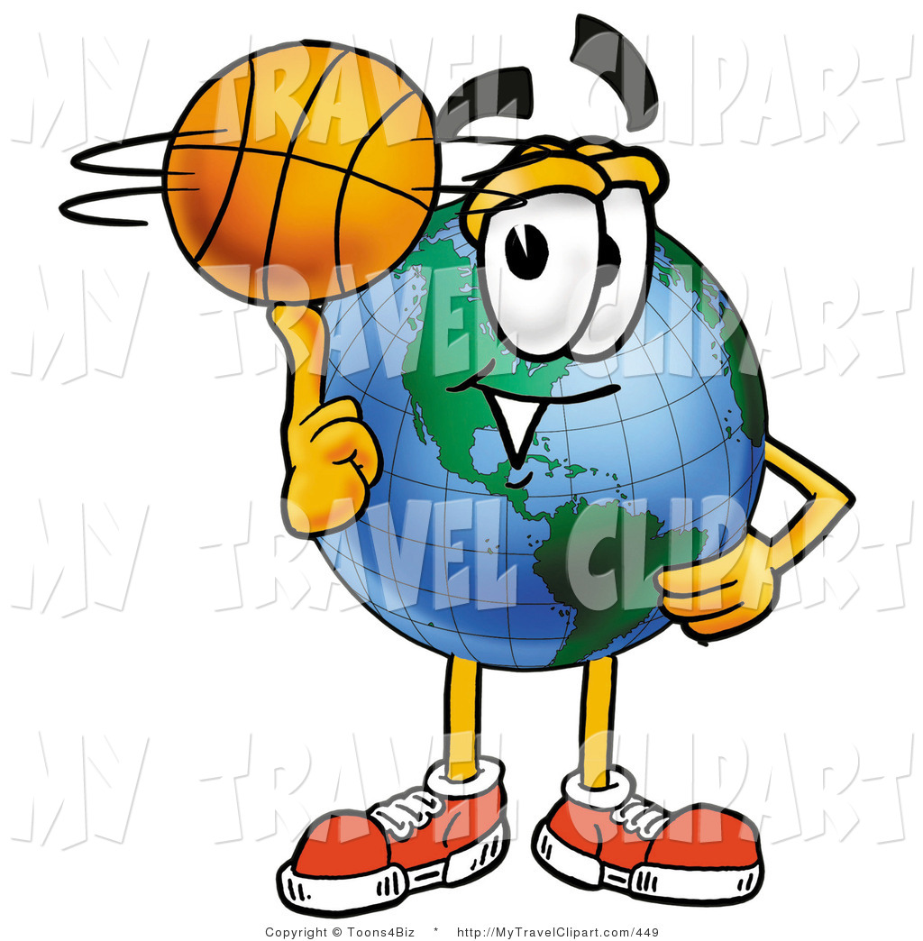 Globe Mascot Cartoon Character Spinning A Basketball On His Finger