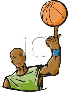 Or Spinning Basketball On His Finger   Royalty Free Clipart Picture