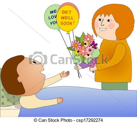 People Helping The Sick Clipart Stock Illustrations Of Visiting A Sick