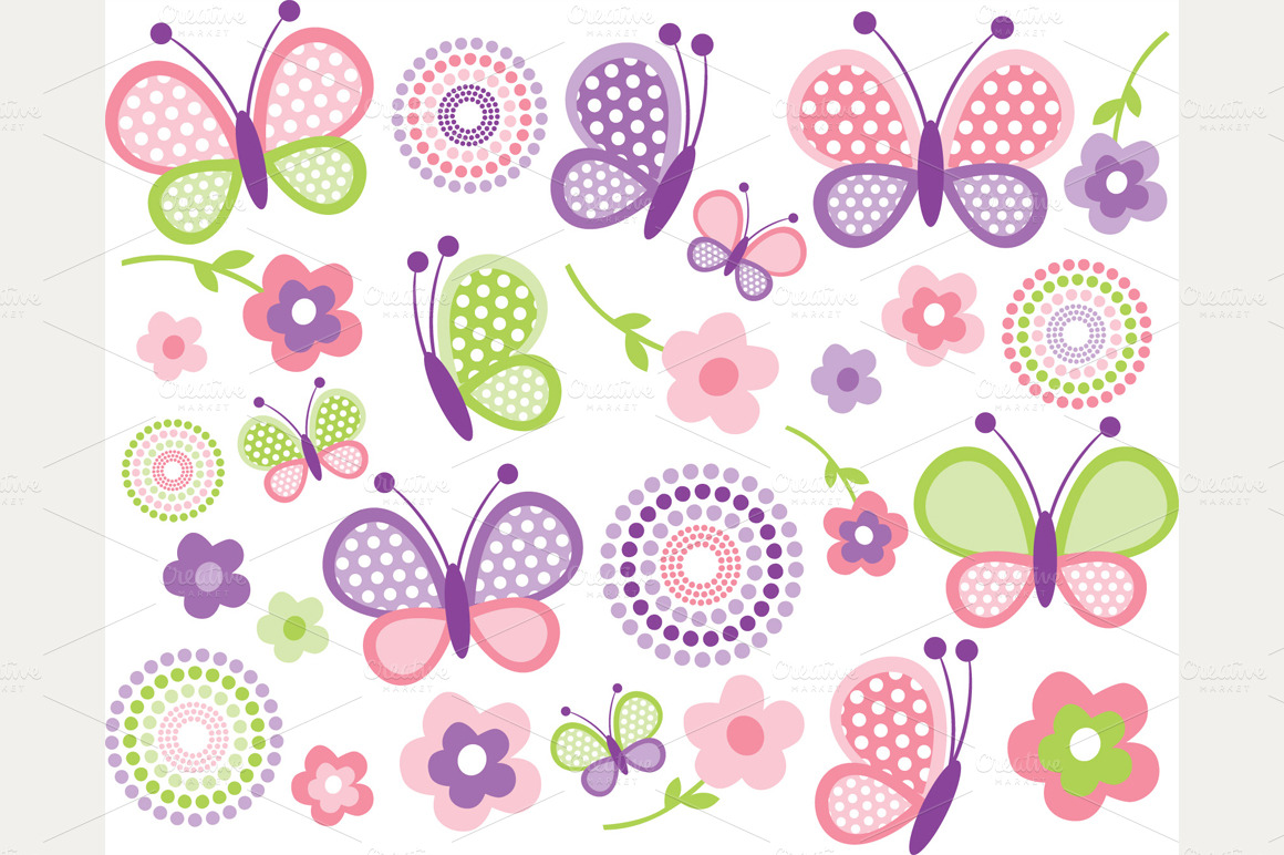 Pink Butterflies   Mothers Day Clipa   Illustrations On Creative