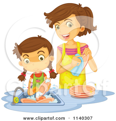 Royalty Free  Rf  Clipart Of Washing Dishes Illustrations Vector