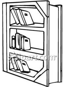 Black And White Bookshelf   Royalty Free Clipart Picture