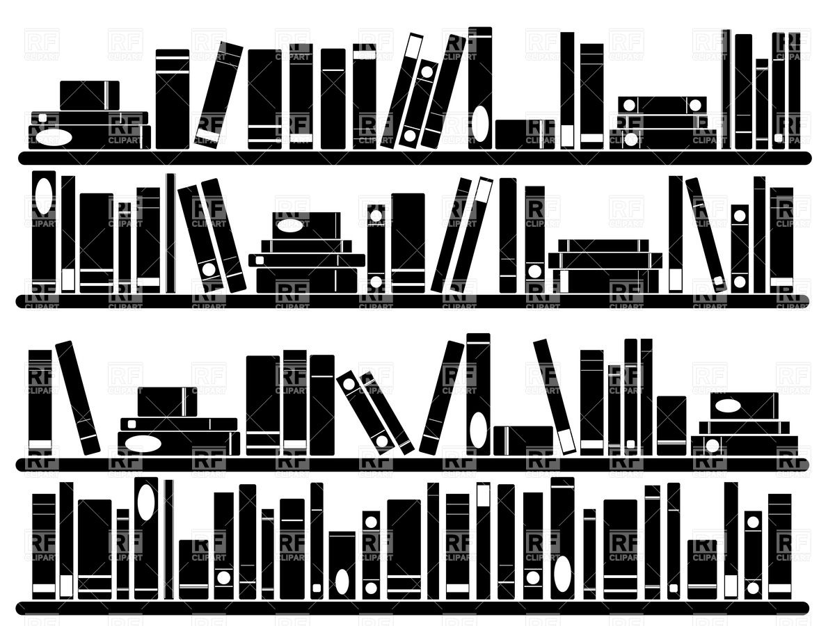 Books On Shelves   Silhouette Of Bookshelf Objects Download Royalty