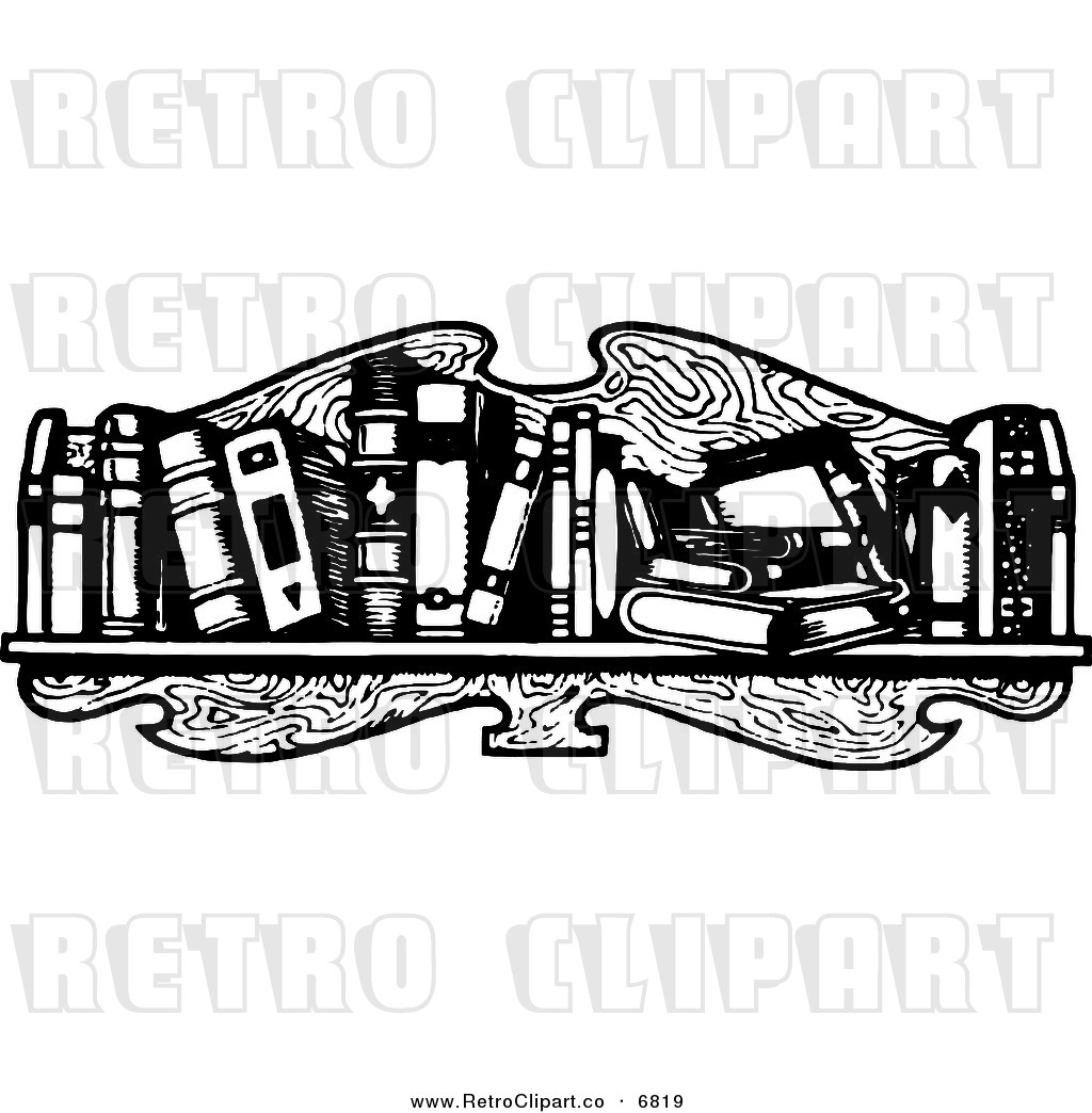 Bookshelf Clip Art Black And White Vector Clipart Of A Retro