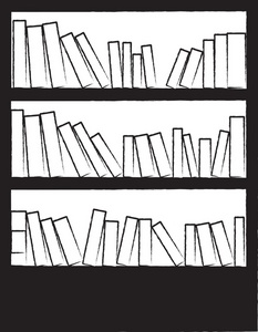 Clipart Image   Black And White Drawing Of A Bookcase Or Bookshelf