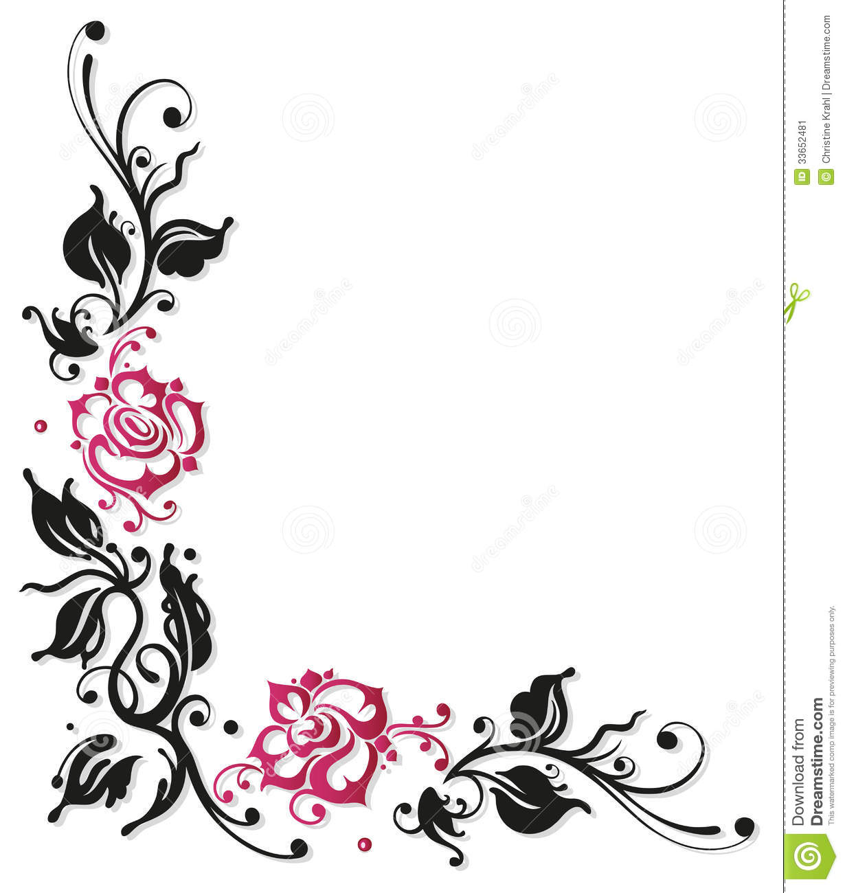 black and white flowers borders clipart clipart suggest