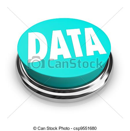 Stock Photo   Data Word On Blue Round Button Information Measurement