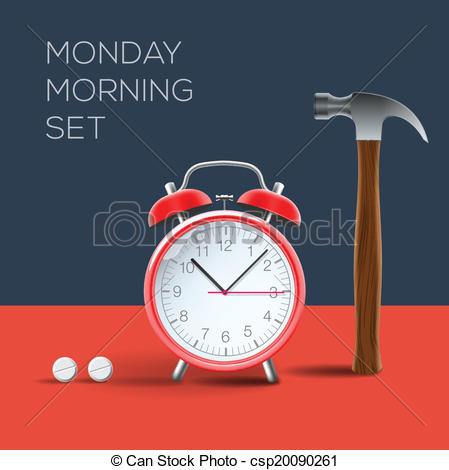 Vector   Concept   I Hate Monday Morning   Stock Illustration Royalty