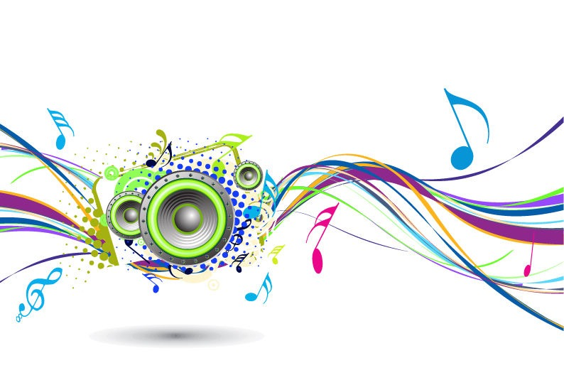 Abstract Rainbow Wave With Music Node Background   Free Vector