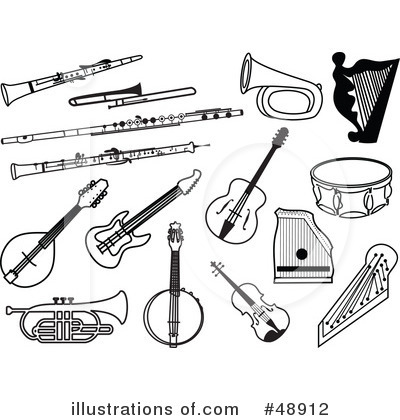 Band Instruments Black And White Clipart - Clipart Kid