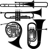 Brass Musical Instruments Vector   Clipart Graphic