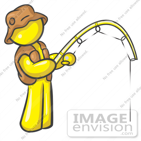 Clip Art Graphic Of A Yellow Guy Character Fishing    37799 By Jester