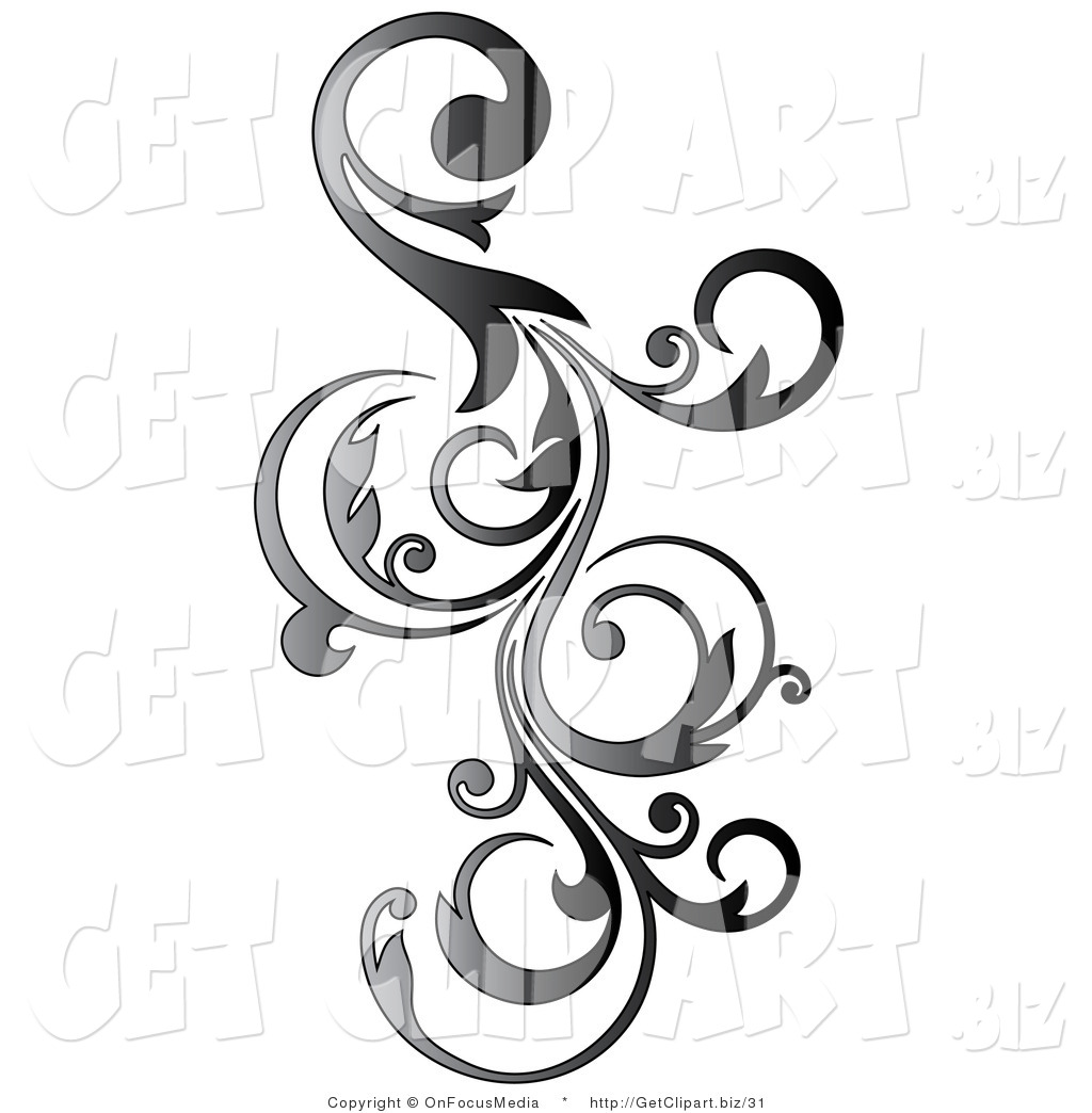 Clip Art Of A Gradient Gray Vertical Curly Vine Scroll Design By