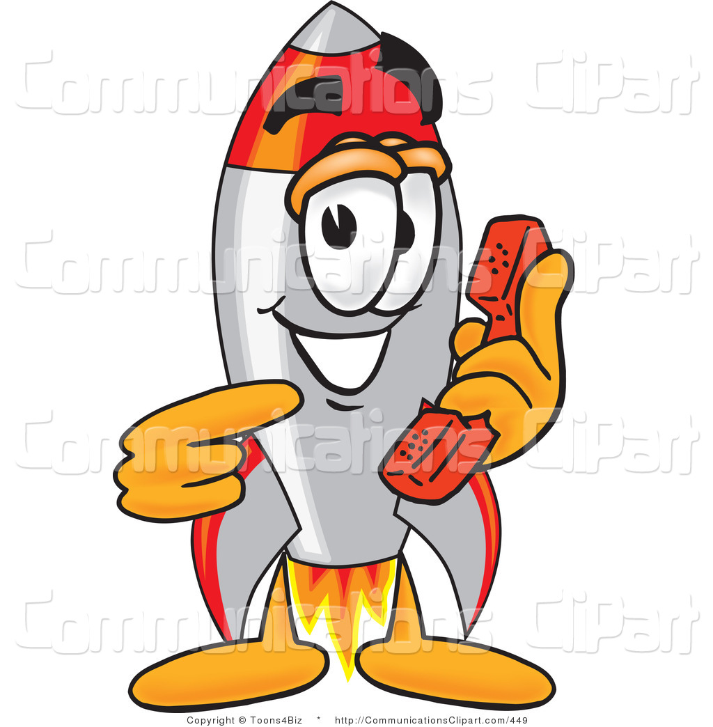 Communication Clipart Of A Smiling Rocket Mascot Cartoon Character