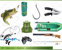 Fishing Clipart   Clip Art Of Fishing Equipment   For Scrapbooking