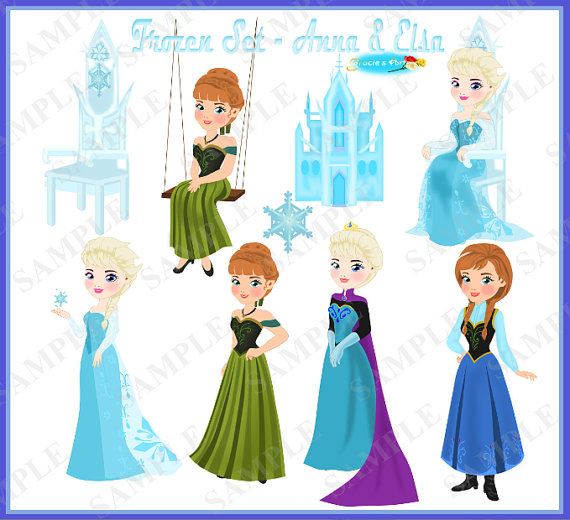 Frozen Clipart Set Part 2    Elsa And Anna  300dpi   In Png And Jpeg