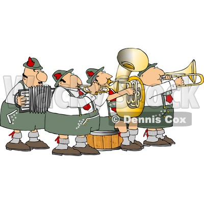 German Band Playing Musical Instruments Together Clipart   Dennis Cox