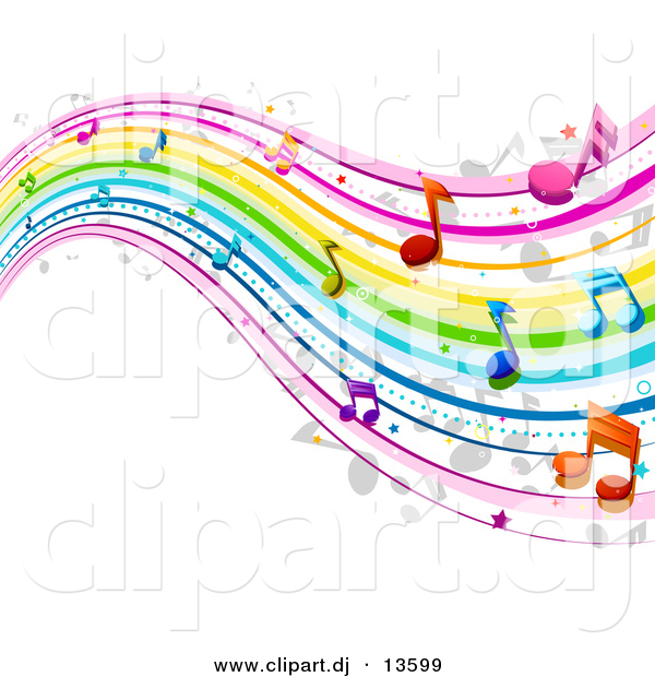Vector Clipart Of A Rainbow Waves With Music Notes   Background
