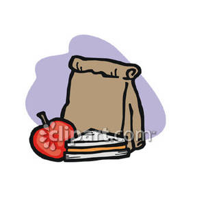 Brown Bag Lunch With A Sandwich And An Apple   Royalty Free Clipart