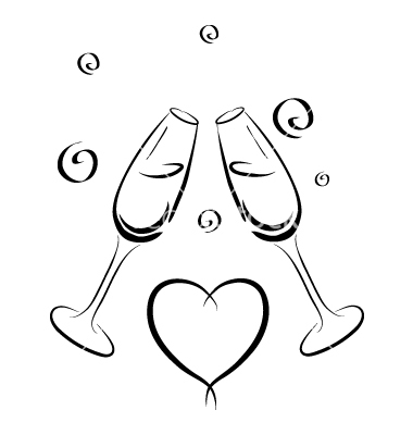 Champagne Glass Vector Sketch Coloring Page