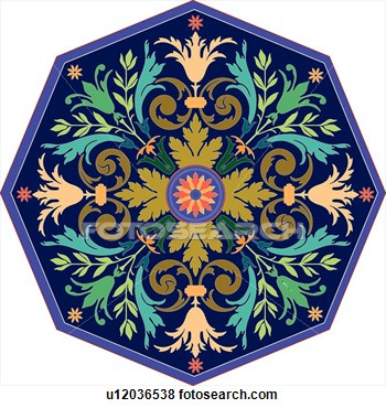 Clip Art   Green Teal Orange And Purple Leaf Octagon Design Ornament