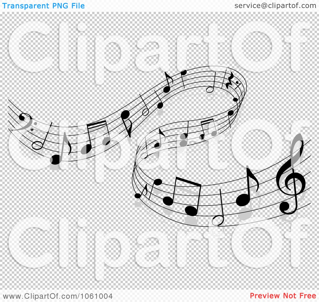 Clip Art Illustration Of A Background Of Staff And Music Notes   12
