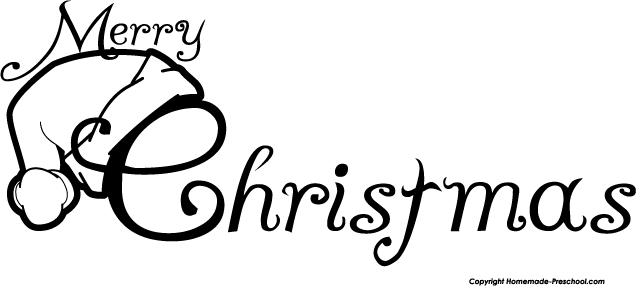 Merry Christmas Black White Clipart - Clipart Kid