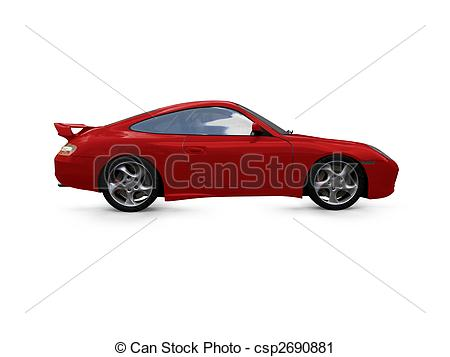 Clipart Of Isolated Red Super Car Side View   Isolated Red Supercar On