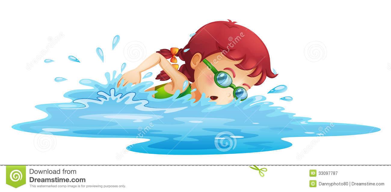 Girl Swimming Clipart
