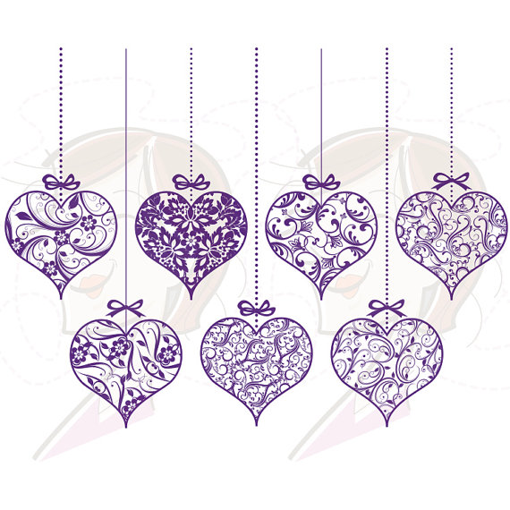 Ornaments Hanging Graphics Clip Art Vintage Purple Wedding Swirl Leaf
