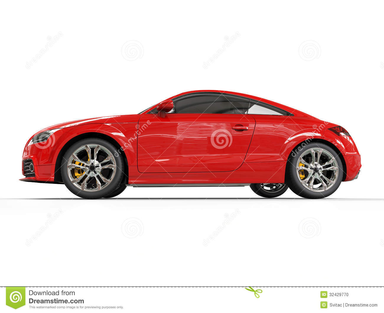 Red Powerful Car Side View Stock Photo   Image  32429770