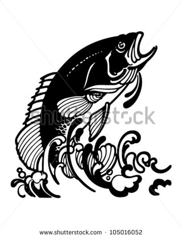 Stylized Jumping Fish   Retro Clipart Illustration   105016052