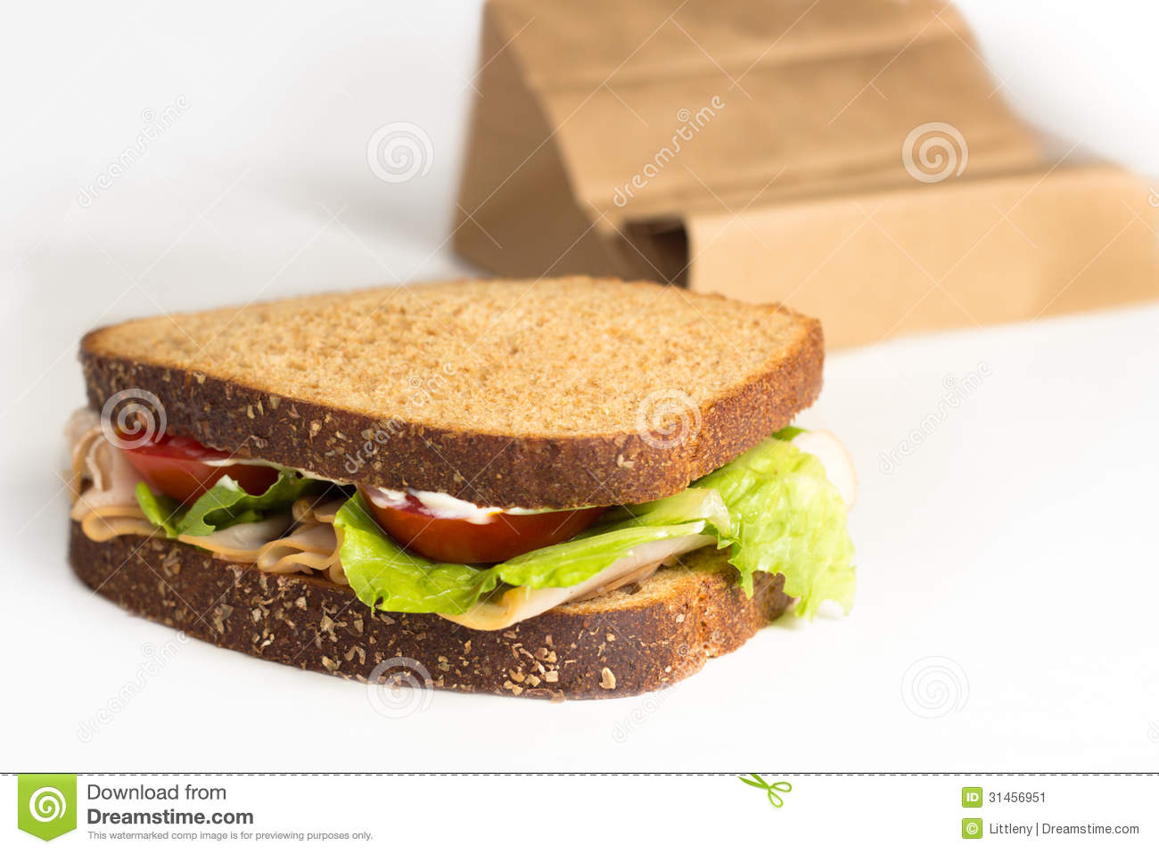 Turkey Tomato And Lettuce Sandwich Brown Bag Lunch
