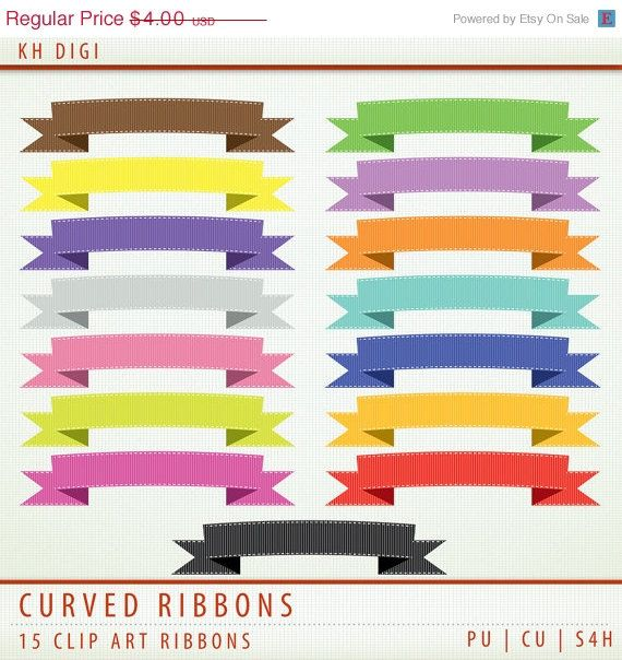 50 Off Sale Digital Scrapbooking Ribbons Clipart 15 By Khdigi  2 00