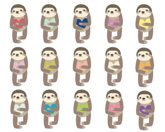 60  Off Sale Digital Clipart Clip Art Sloth Animal Cute Animal Clipart