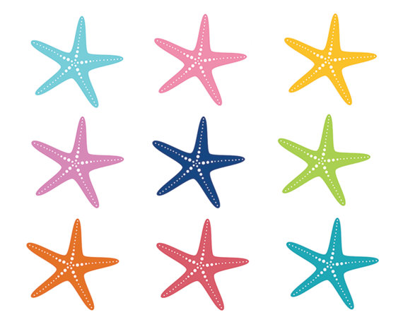 60  Off Sale Nautical Clipart Starfish Clip Art Sea Ocean Fish Summer