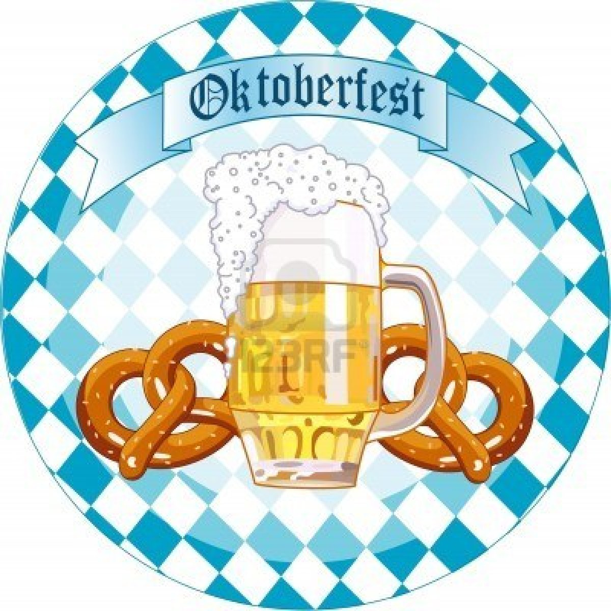 7628226 Round Oktoberfest Celebration Design With Beer And Pretzel