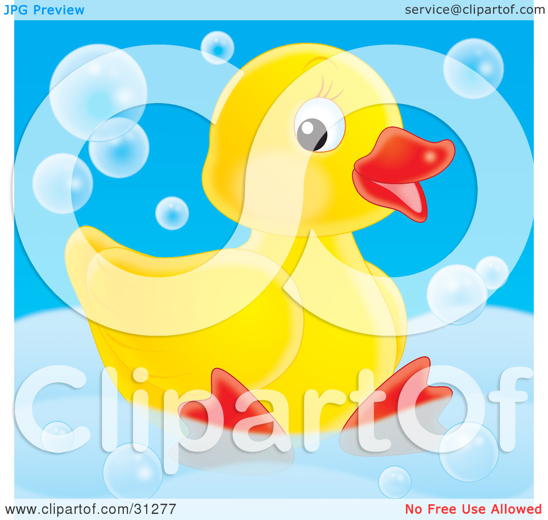 Clipart Illustration Of A Cute Yellow Rubber Duck Relaxing In A Tub