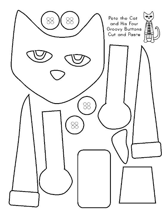 Pete The Cat More Cat Pattern Cat Mask Cat Cutout Kindergarten Pete