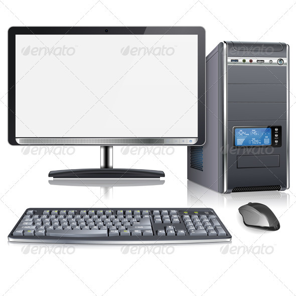 Realistic 3d Computer Case With Monitor Keyboard And Mouse Isolated
