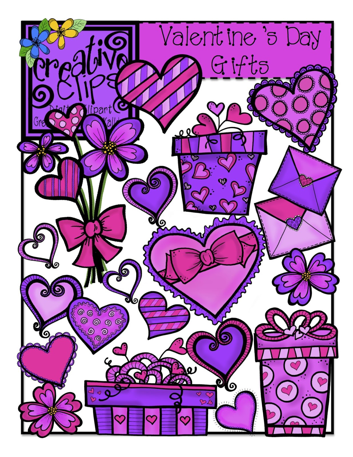 The Creative Chalkboard  Valentine Clipart Sale   2 00 And  1 00 Sets