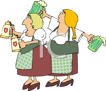 Two German Women Serving Beer On Oktoberfest Clipart   Royalty Free