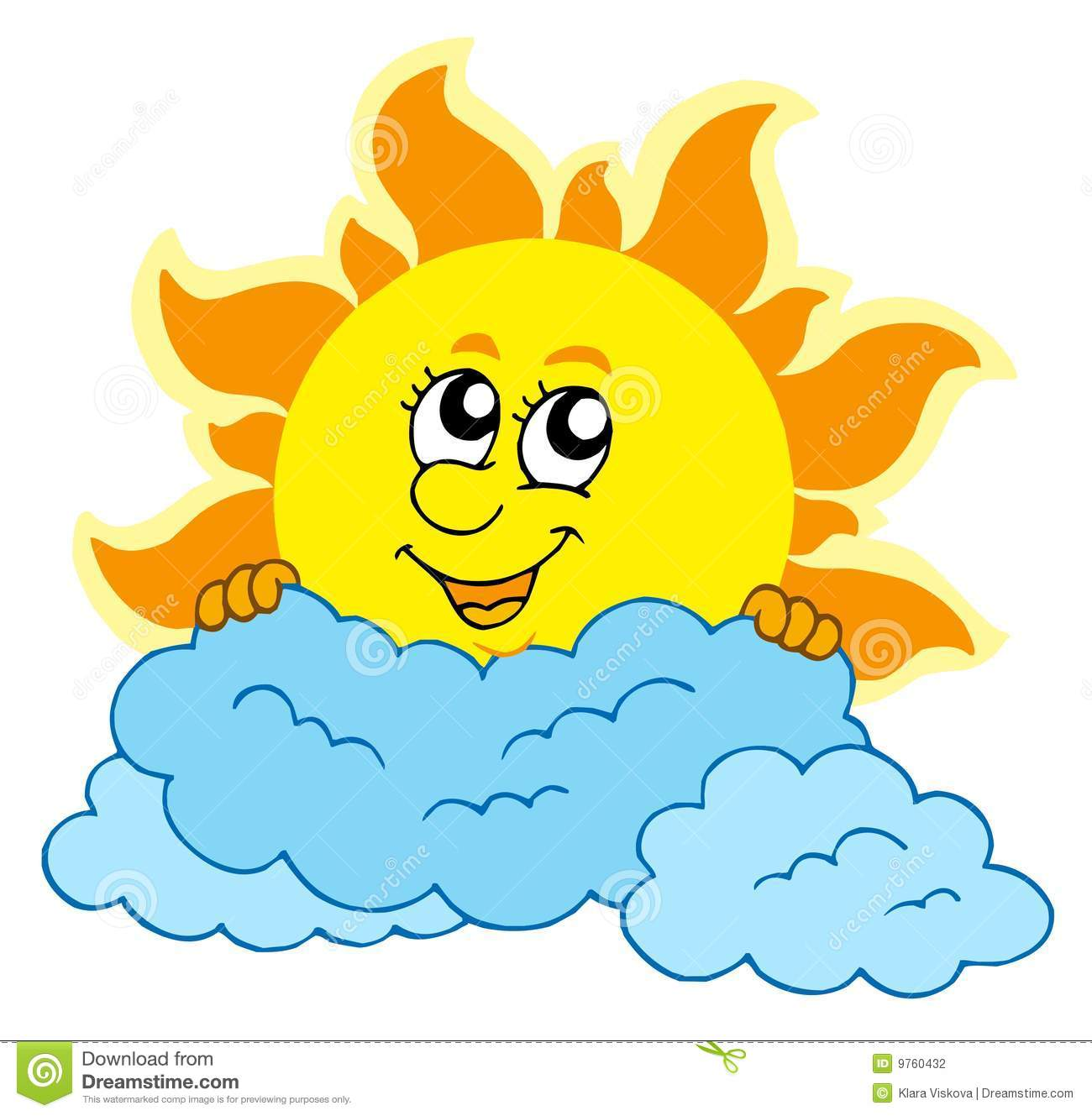 Cute Cartoon Sun With Clouds Stock Photography   Image  9760432