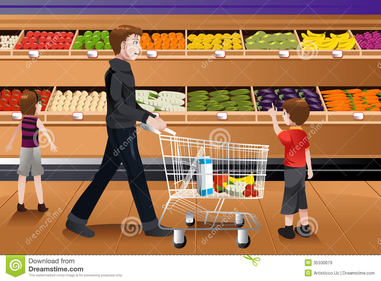 Father And His Kids Doing Grocery Shopping Royalty Free Stock Images