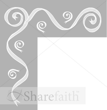 Gray Bar With Ribbon Swirls Corner   Party Borders