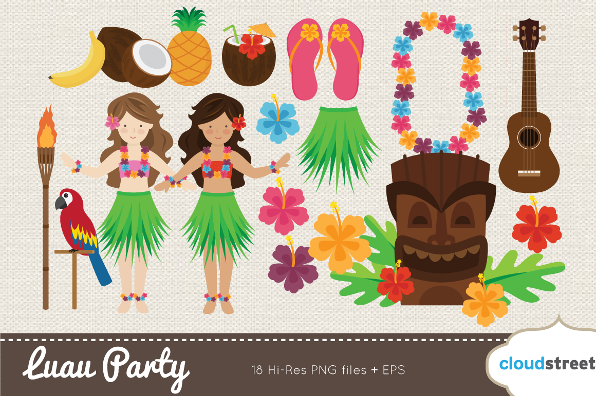 Luau Party Clipart   Illustrations On Creative Market