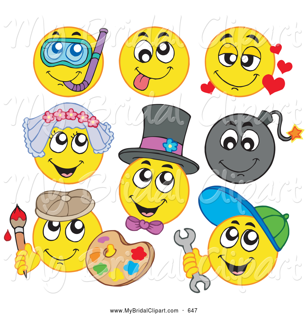 Bridal Clipart Of A Digital Collage Of Eight Yellow Emoticons By
