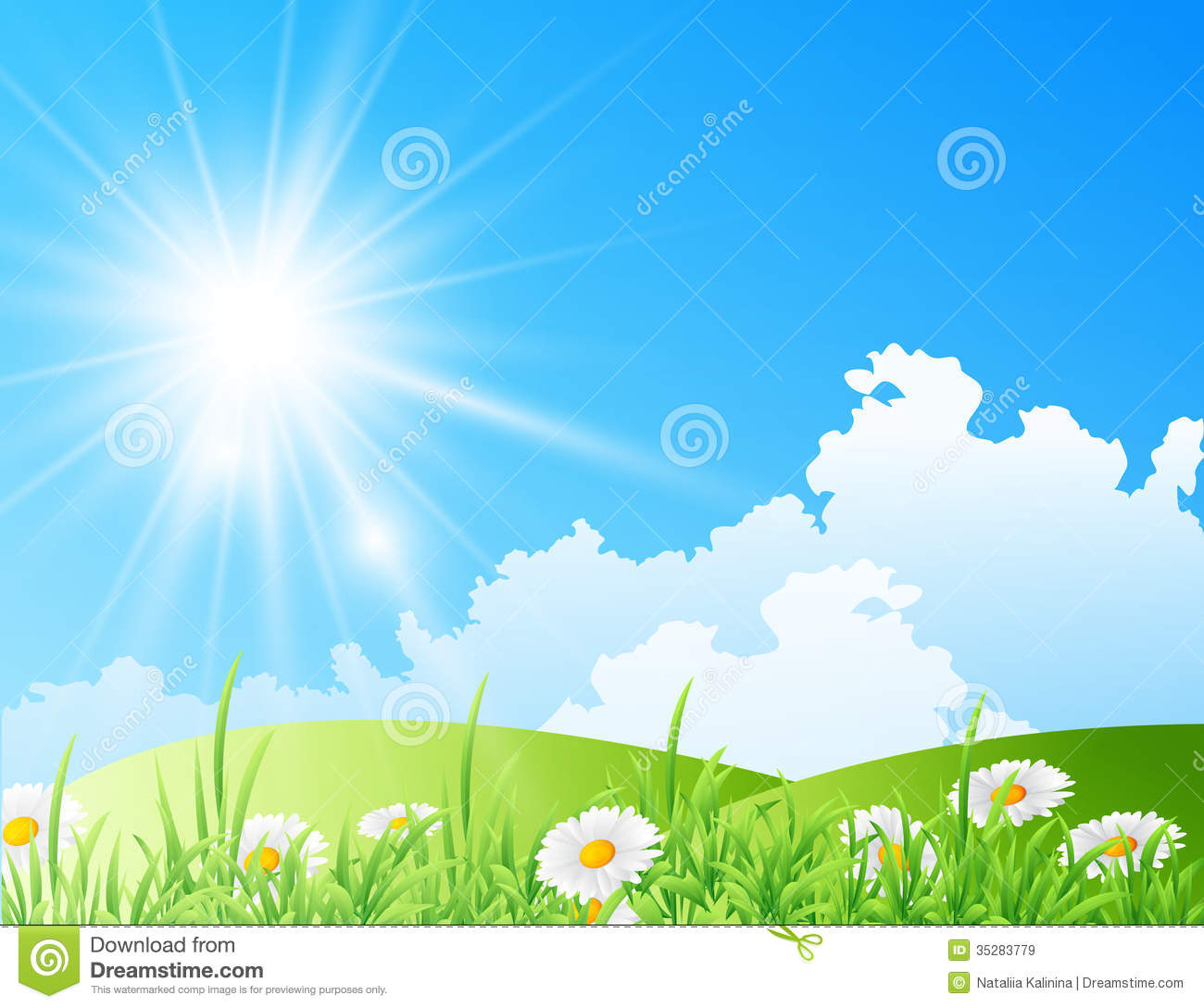 Bright Sunny Day Clipart Field Of Daisies With Bright