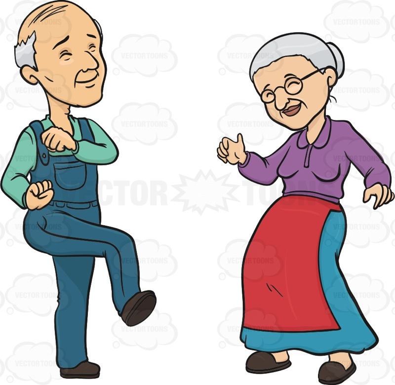 Elderly Couple Smiling While Dancing   Vector Graphics